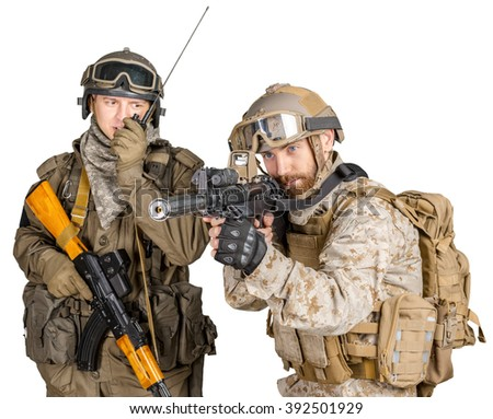 Two soldiers with rifles on a white background