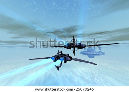 Two spacecraft fly to their home space station in the far reaches of the cosmos. - stock photo