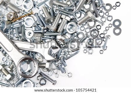 Two spanners on nuts and bolts