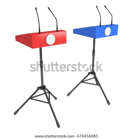 Two Speaker Podiums on Tripod. White Tribune Rostrum Stand with Microphones. 3d render isolated on white background. Debate, press conference concept