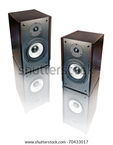 two speakers isolated on white background - stock photo