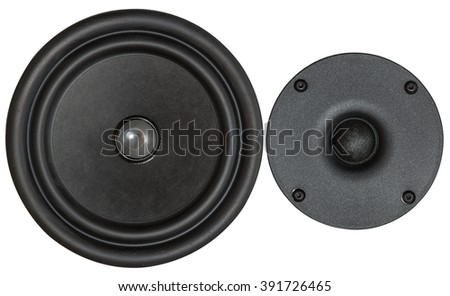 Two speakers of the loudspeaker isolated on white background - stock photo