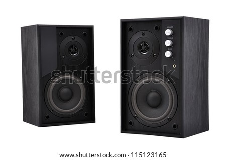 two speakers on a white background - stock photo