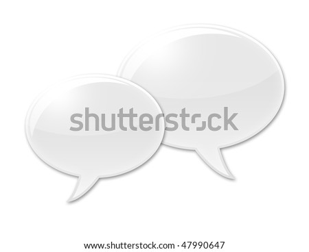 Two Speech balloons with no text inside. - stock photo