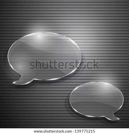 Two speech bubbles from glass on striped background. Raster version. - stock photo
