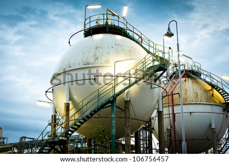 Two sphere gas storages in petrochemical plant