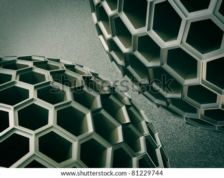 Two sphere on dark background.  3d illustration. - stock photo