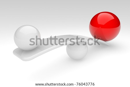 two spheres in balance. 3d rendered illustration.