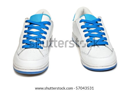 Two sport shoes isolated on white backhround - stock photo