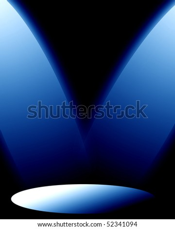 two spotlights on a dark blue background