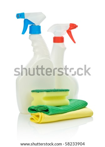 two spray bottle and accesories for cleaning