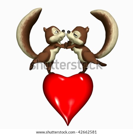 Two Squirrels, dancing on a heart. - stock photo