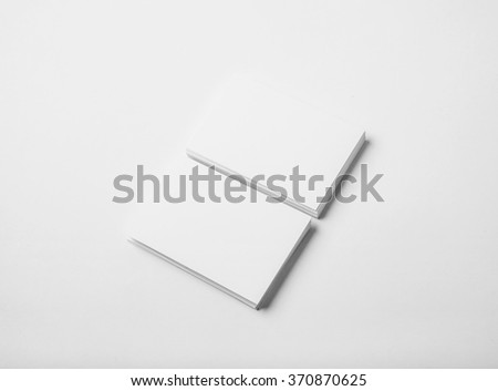 Two stack of blank business cards on white background with soft shadows. Horizontal - stock photo