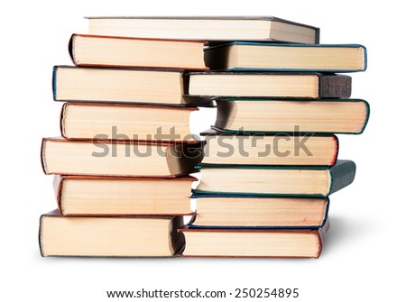 Two stacks chaotically stacked old books isolated on white background - stock photo