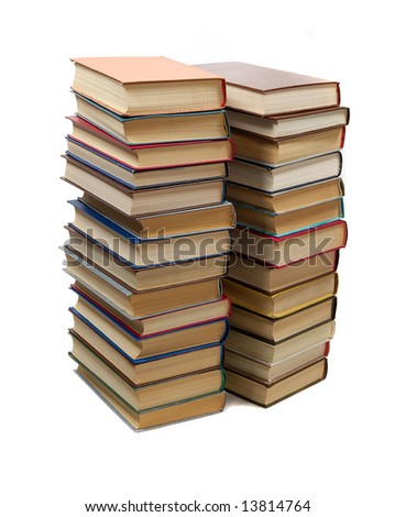 two stacks of books isolated in white