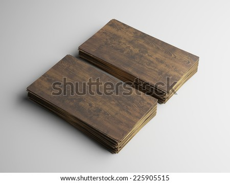 Two stacks of business cards made of wood - stock photo