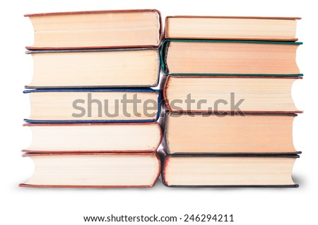 Two stacks of old books isolated on white background - stock photo