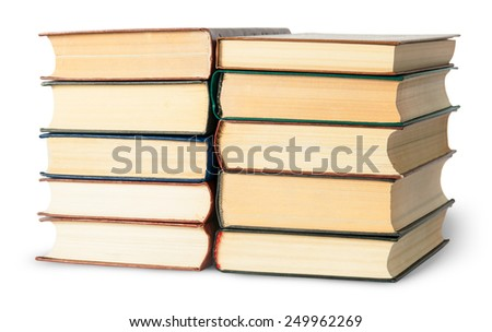 Two stacks of old books rotated isolated on white background - stock photo