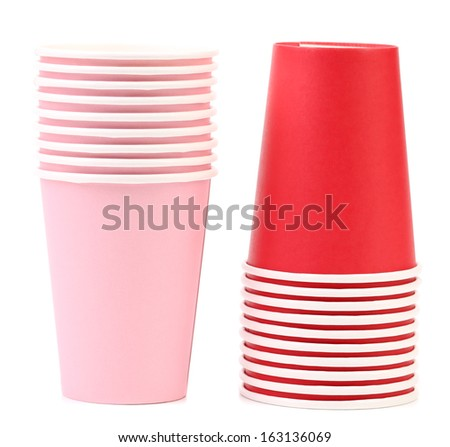 Two stacks of paper cups. Isolated on a white background.