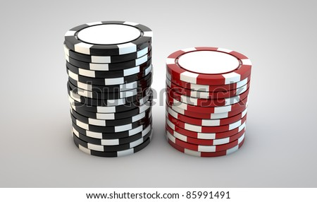 Two stacks of poker chips on white b ackground