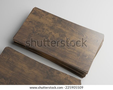 Two stacks of wood business cards - stock photo