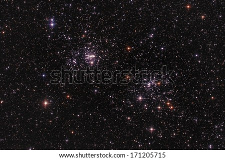 Two star-clusters as seen through a telescope. - stock photo