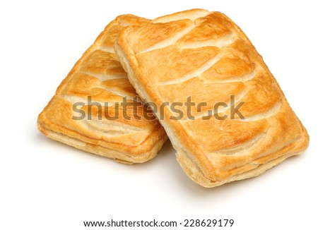 Two steak pastry slices on white background. - stock photo