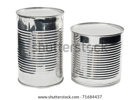 Two steel food cans isolated on white - stock photo