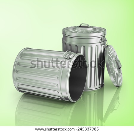 Two steel trash can. - stock photo