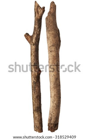 Two sticks isolated on white background