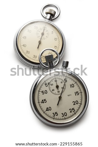 Two stopwatches on white background - stock photo