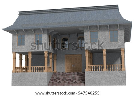 Two storey building front exterior with loggia and wooden pillars on both sides of the entrance door. 3d render isolated on white.