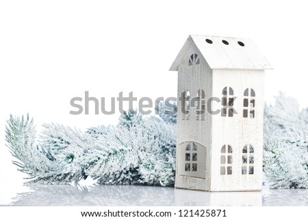 two-storied house on a festive background - stock photo