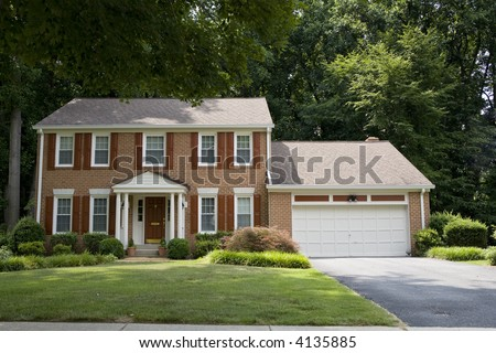 Two Story Red Brick House Shutters Stock Photo 4135885
