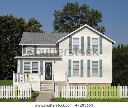 Two story white framed home - stock photo