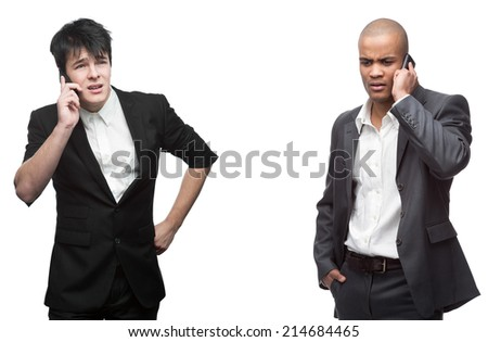 two strained businessman calling by mobile telephone isolated on white - stock photo