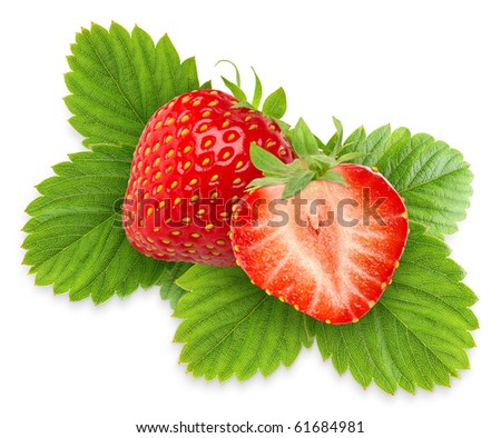 Two strawberries with leaves isolated on white - stock photo