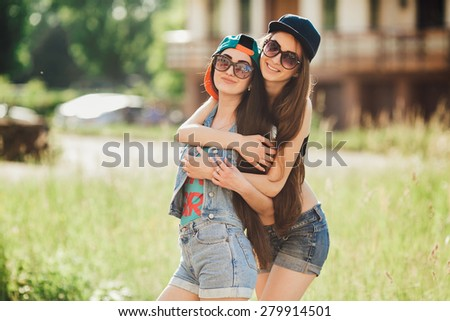 two street girls, happy sisters