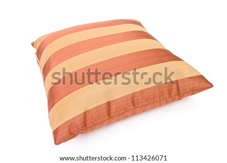 two striped pillow on white background - stock photo