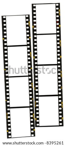 Two strips of 35mm film.  Add your own images, makes a great border. - stock photo