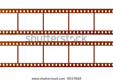Two strips of 35mm movie film isolated on white background