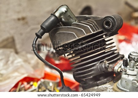 Two stroke motorcycle engine - stock photo