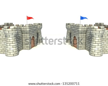 two strongholds - stock photo
