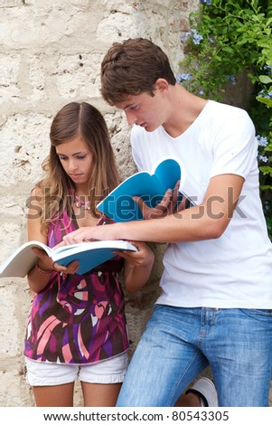 two students whit book