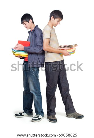 Two students with books. White background - stock photo