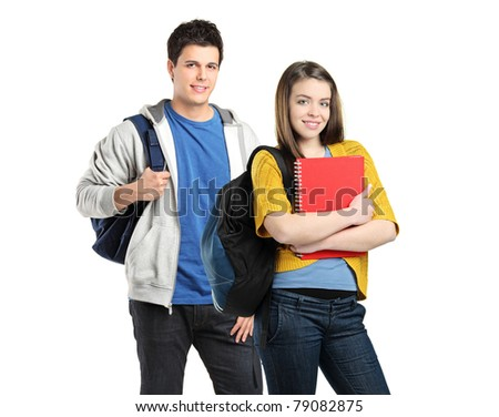 Two students with school bags on their shoulders posing isolated on white background - stock photo
