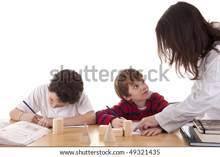Two students with the teacher
