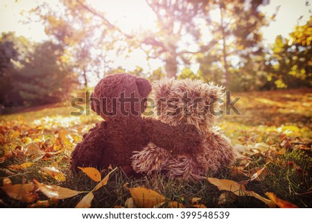 Two stuffed bears with their arms around each other - stock photo