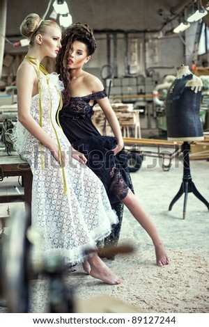 Two stunning ladies in a romantic pose - stock photo