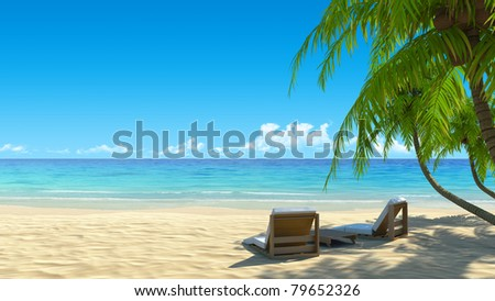 Two stylish beach chairs on idyllic tropical white sand beach. Shadow from the palm trees. No noise, clean, extremely detailed 3d render. Concept for holidays, spa, resort design. - stock photo